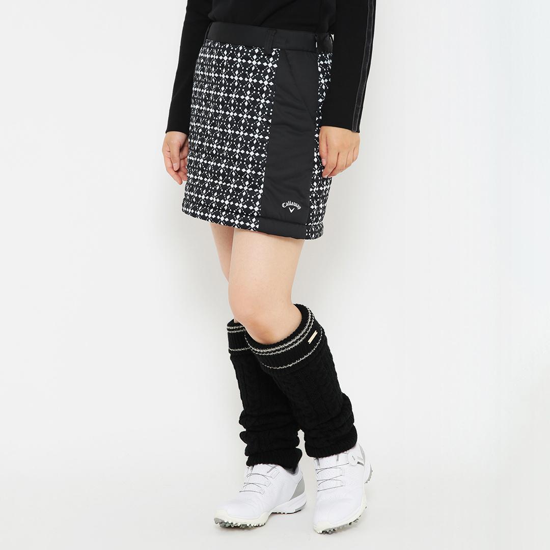 CALLAWAY 幾何学ダイヤ柄プリント中綿入りスターストレッチスカート (WOMENS)