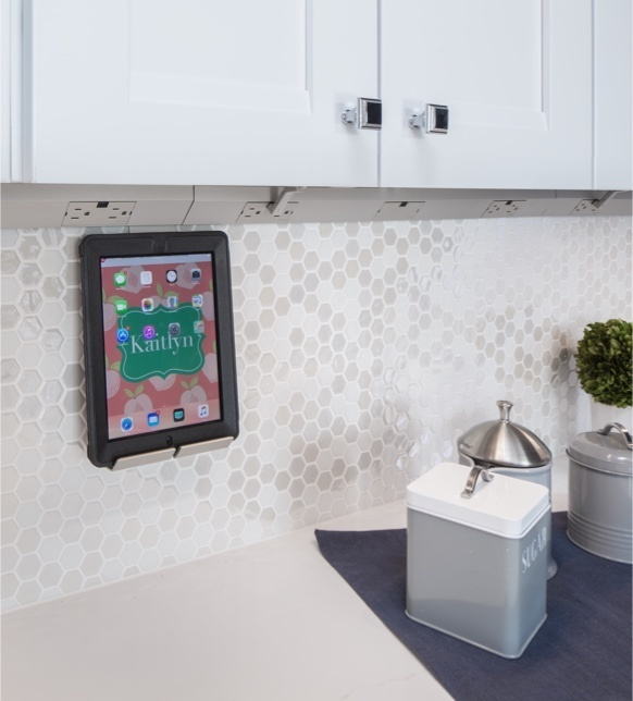 Under Cabinet Lighting in white kitchen with tablet