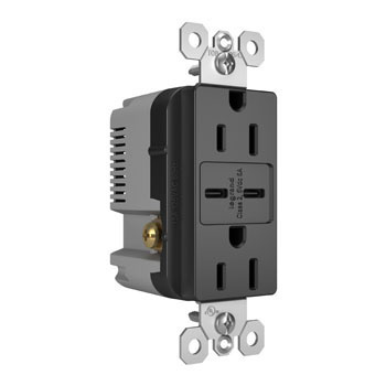 6.0A Type C/C USB Chargers with Duplex 15A Tamper-Resistant Outlet, Black