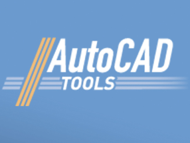 AutoCAD Tool stylized text over blue background with orange graphic motif