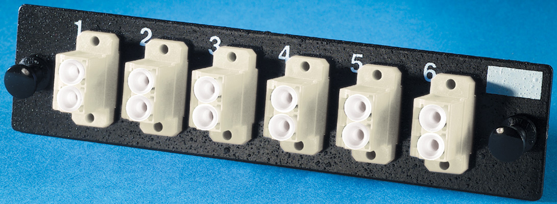 6-LC (12 fibers) multimode adapters with phosphor-bronze alignment sleeves, OR-OFP-LCD12MB
