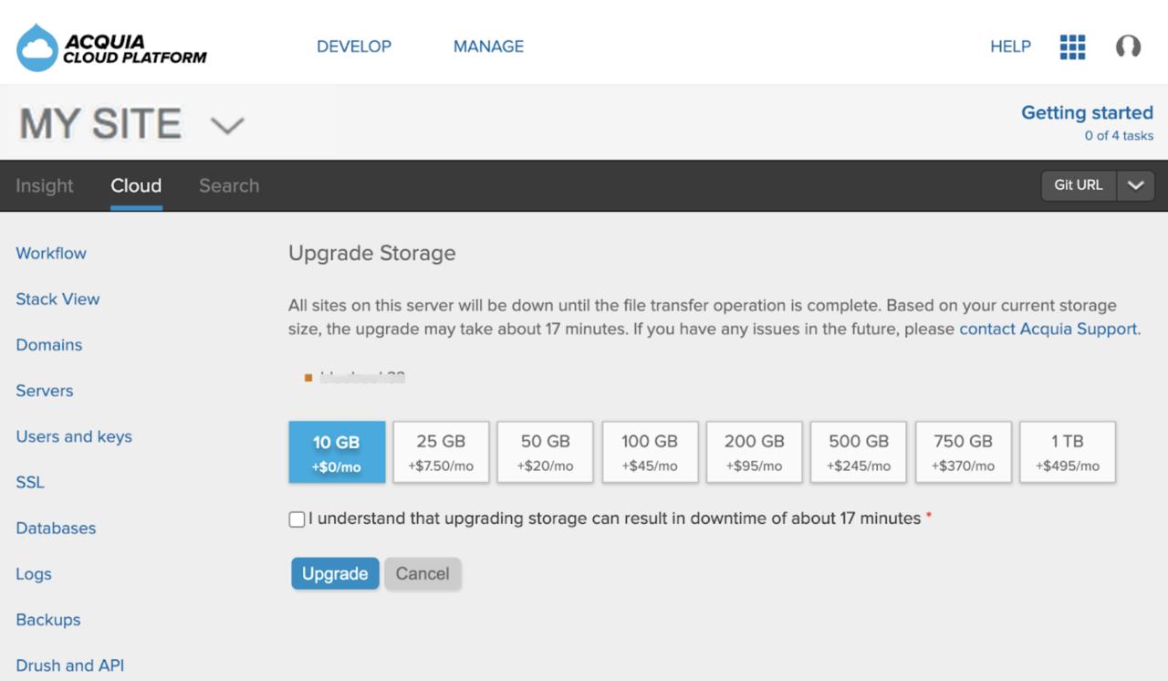 Upgrade storage
