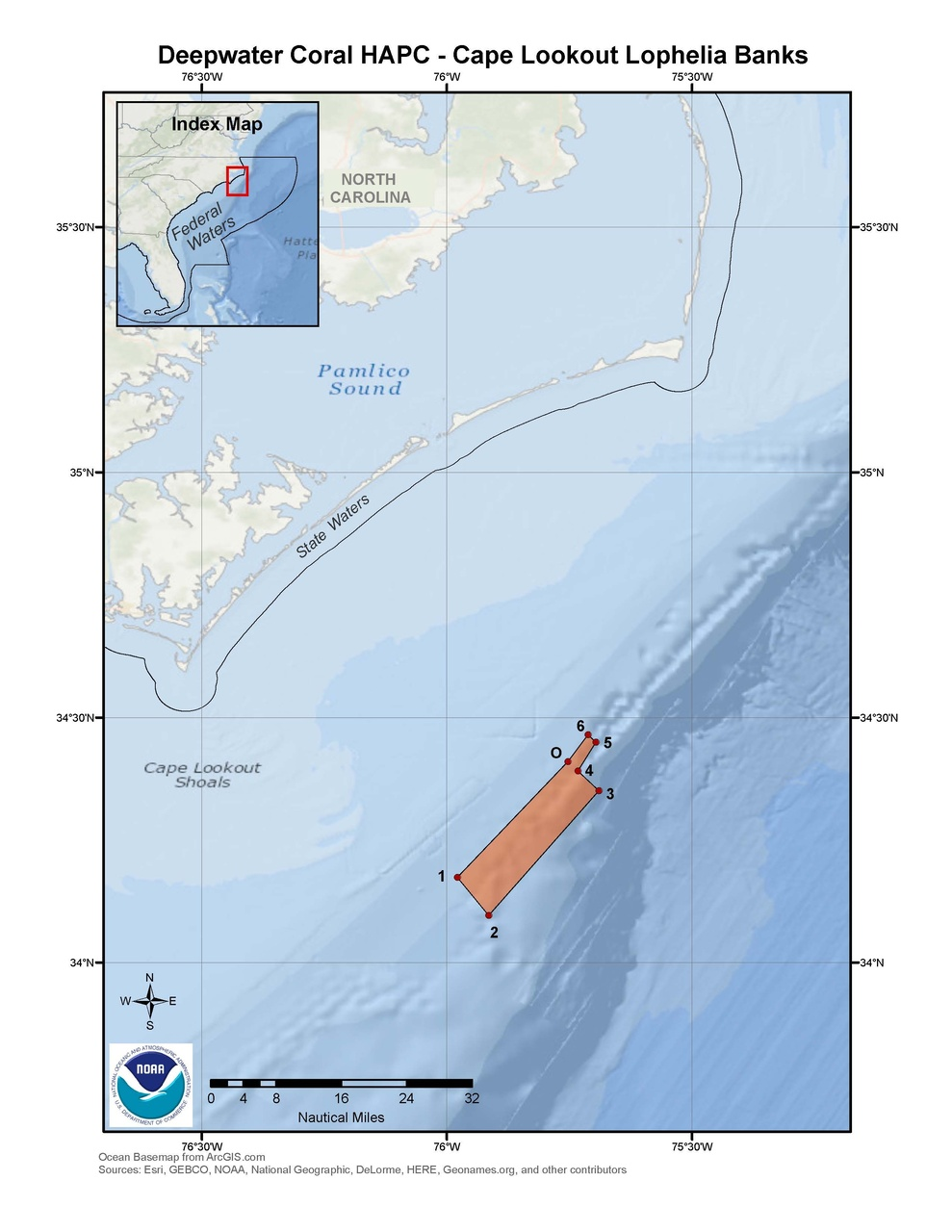 This is a map of the Cape Lookout Lophelia Banks Deepwater Coral HAPC in the South Atlantic Region.