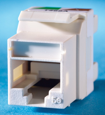 Category 5e Keystone jack, 8-position, 180 degree exit, icon compatible, T568A/B wiring, fog white, OR-KS5E