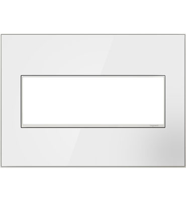 adorne 3-Gang Mirror White Wall Plate