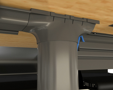 The Channel has egress fittings for smooth transitions to Under Table Cable Management