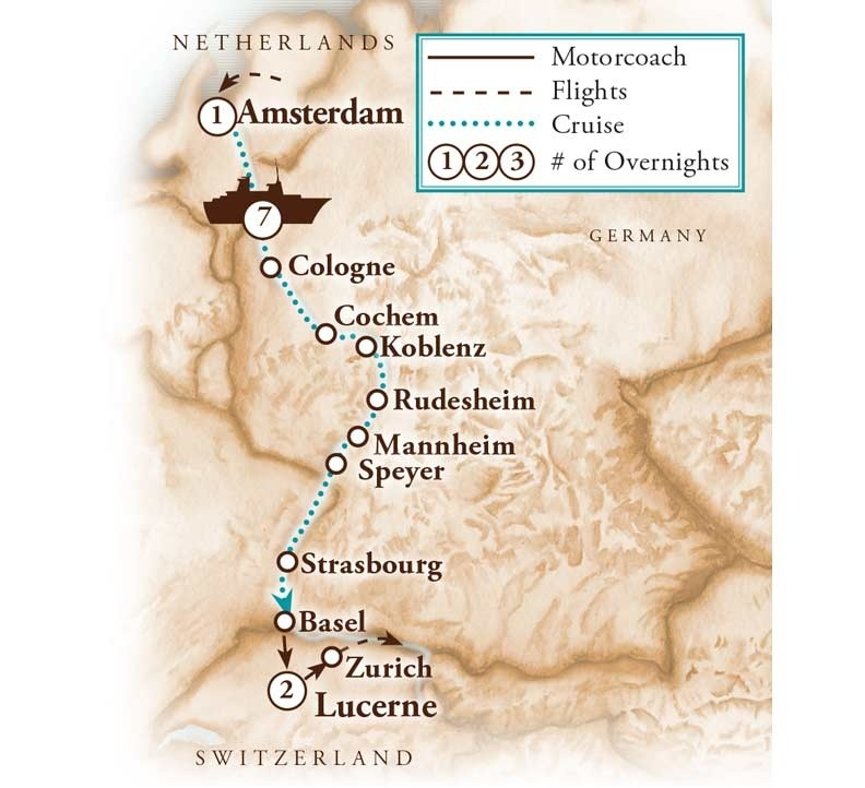 Tour Map for Rhine River Cruise - Amsterdam to Switzerland
