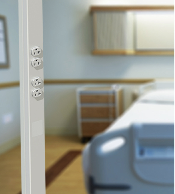 power pole by hospital bed