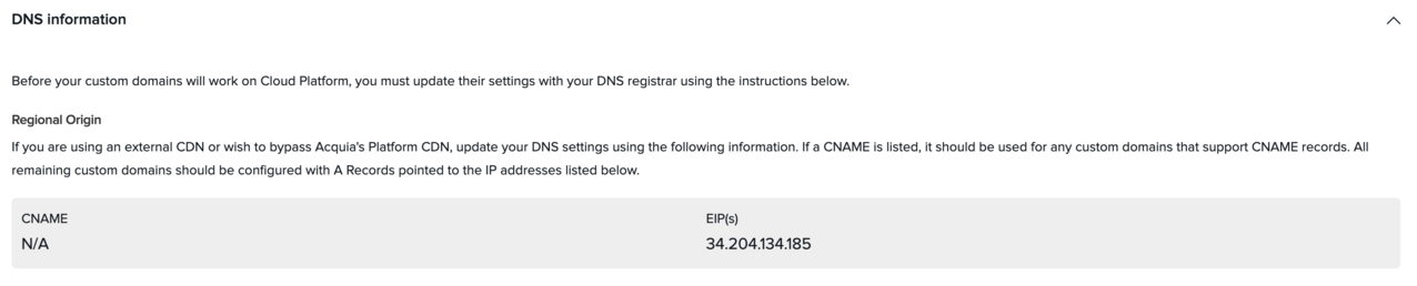 Box displaying DNS information for this subscription