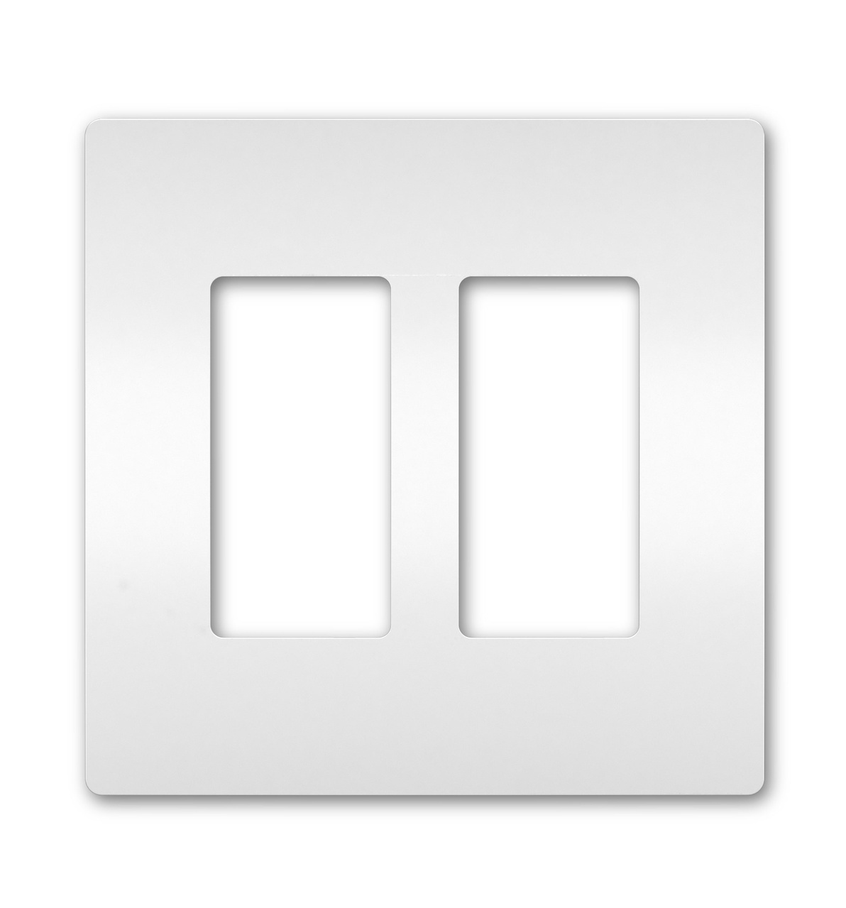 Two-Gang Screwless Wall Plate, White