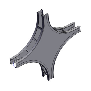 Cable tray 3D rendering of metallic vertical fitting vertical cross section