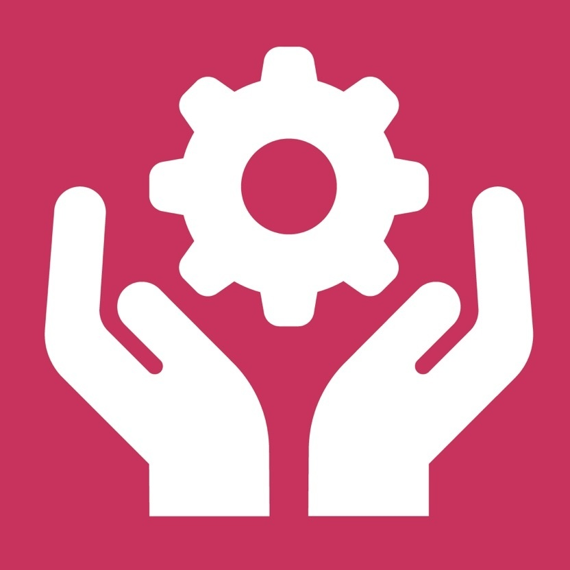 Hands and gear icon