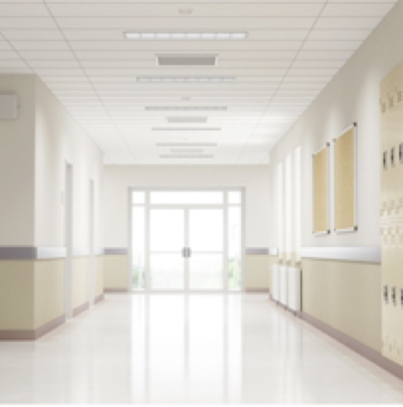Brightly lit hallway of a K-12 school