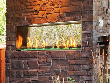 Lanai See-Through Gas Outdoor Fireplace
