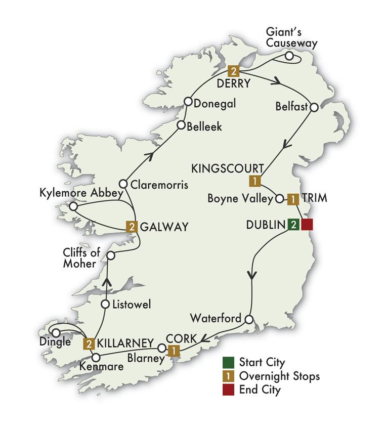 CIE Tours Tour Map  - 2022 - 12 Day Irish Odyssey
