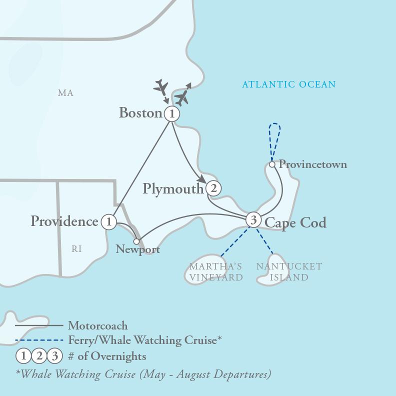 Tour Map for Captivating Cape Cod