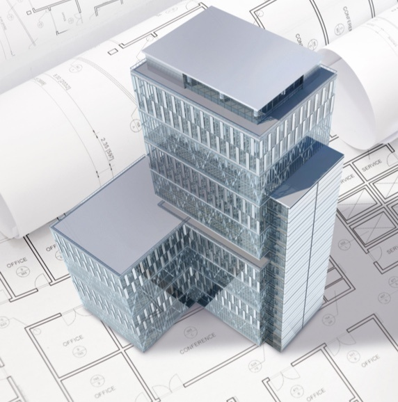 BIM model 3D rendering of building on top of schematic plans