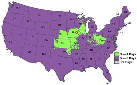 Frontier Fedex Smartpost Service Map