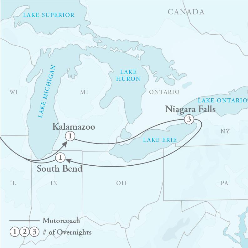 Tour Map for Niagara Falls Getaway