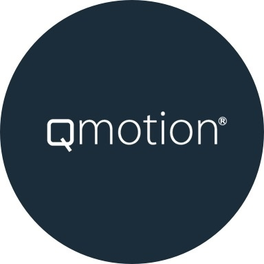 Qmotion logo with navy blue background
