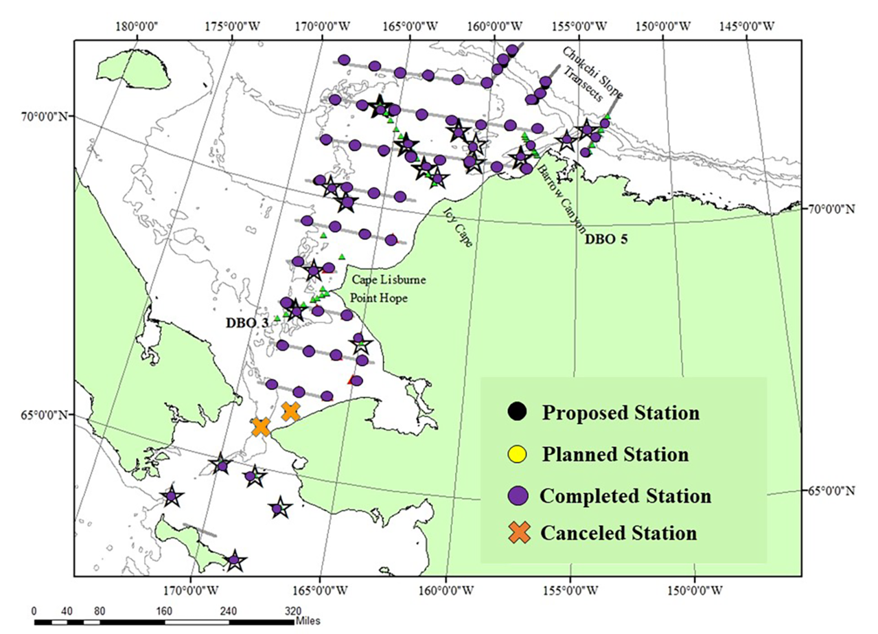 Map of Chukchi and Beaufort seas featuring plots indicating proposed, planned completed and canceled survey stations.