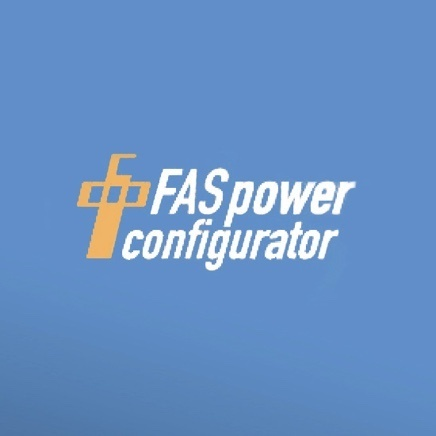 Blue background with FASpower configurator text logo