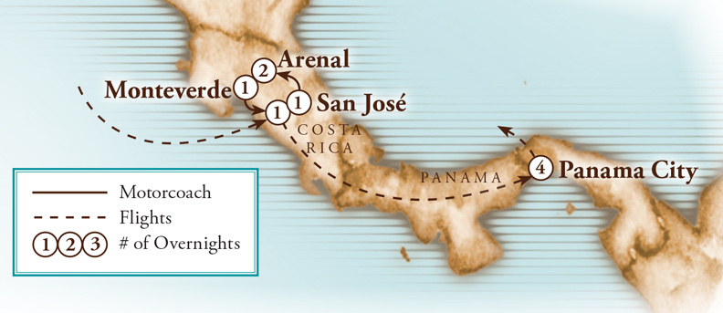 Tour Map for Costa Rica & Panama Canal Adventure