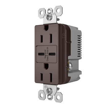 6.0A Ultra-Fast Type C/C USB Chargers with Duplex 15A Tamper-Resistant Outlet, Dark Bronze