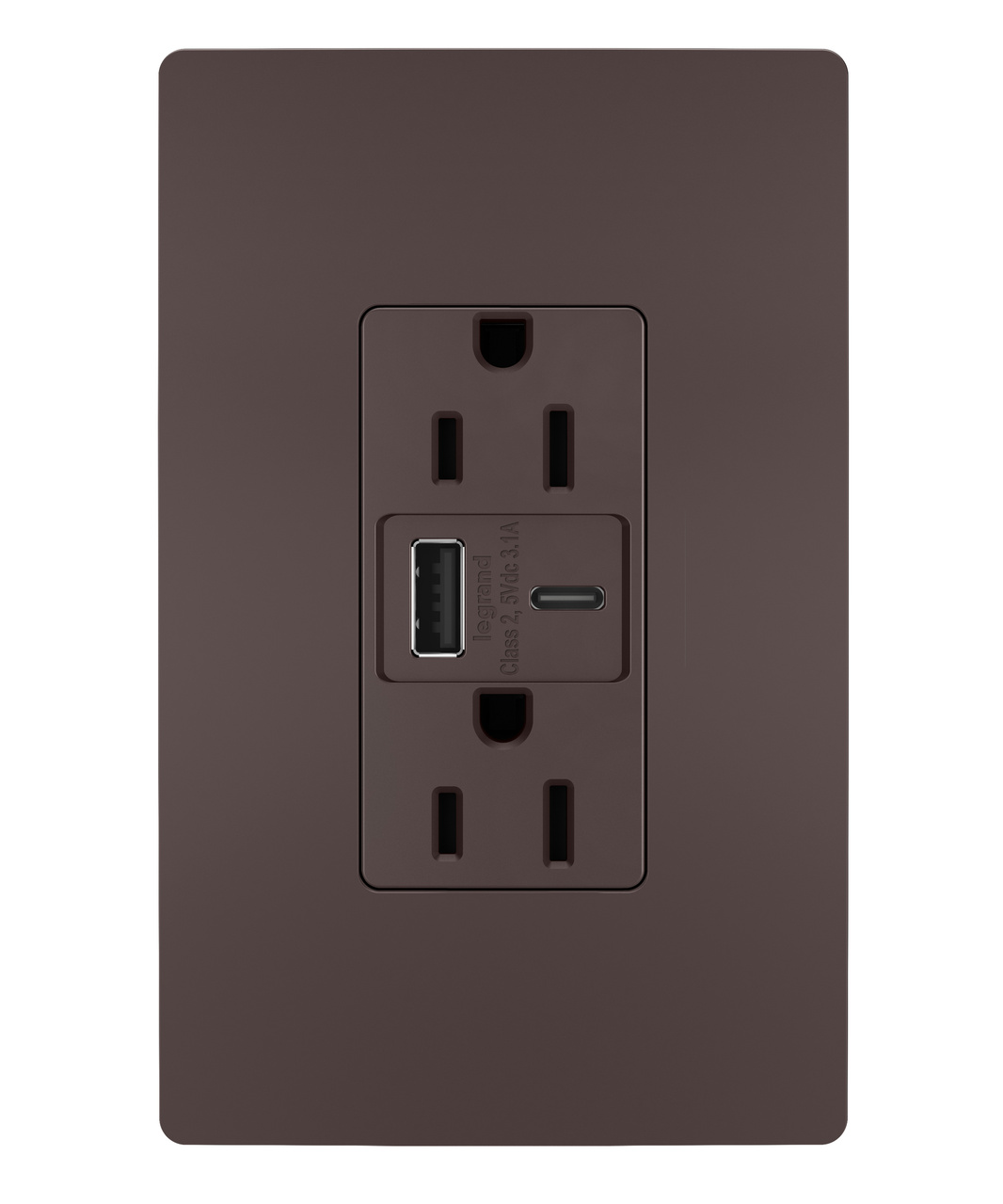 Hybrid Type A/C USB Chargers with Duplex 15A Tamper-Resistant Outlet, Dark Bronze