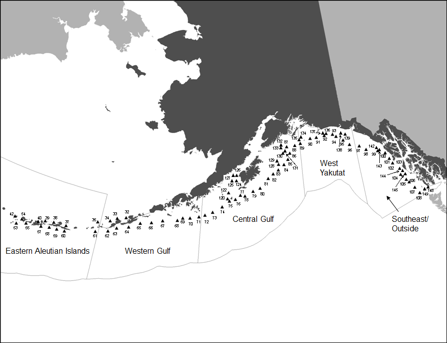 Proposed stations for this year's NOAA Fisheries' Alaska Longline Survey.
