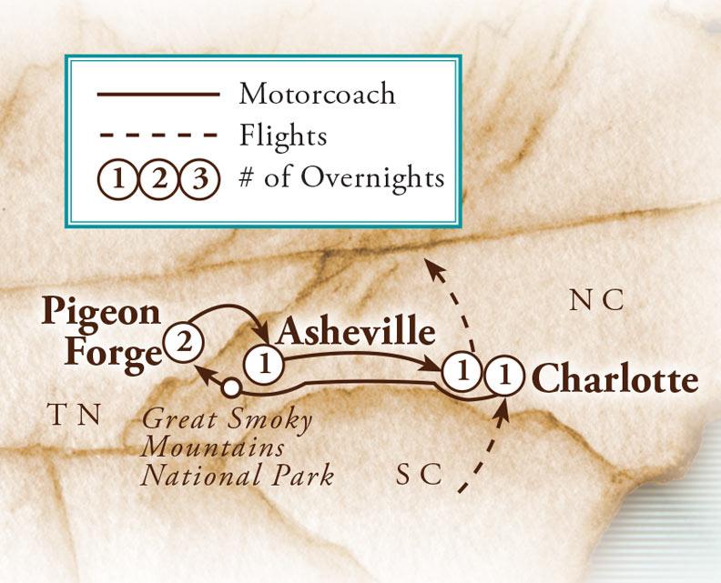 Tour Map for Smoky Mountain Christmas