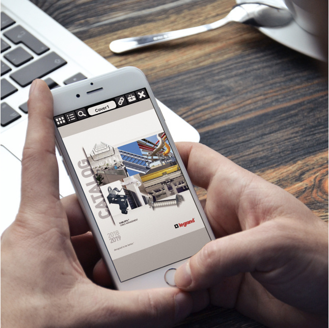 Person holding smartphone with online catalog mobile app on screen