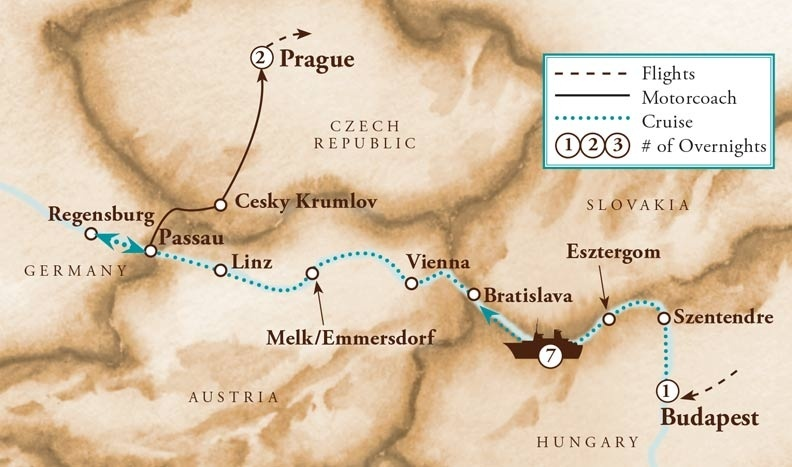 Tour Map for Scenic Danube River Cruise