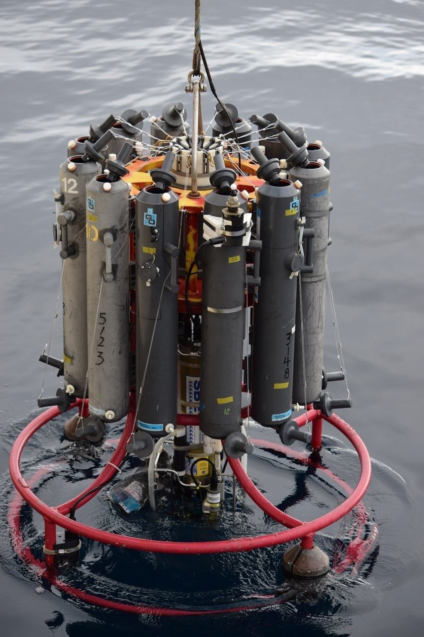 A carousel containing instruments and bottles to collect water column data from surface to near bottom depths on sea temperature, salinity, light, amount and species composition of chlorophyll, nutrients, and the presence of harmful algae.