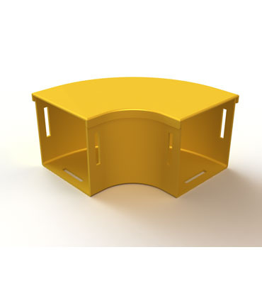 "Mighty Mo Fiber Raceway, Horizontal Elbow with cover, 90deg, 4"" x 4"", yellow - OR-MMFHEC904X4-Y"