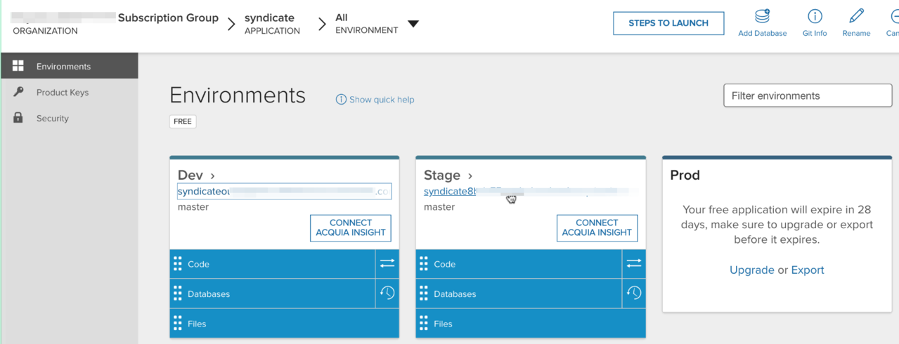 Dev and Stage environments, ready for use.