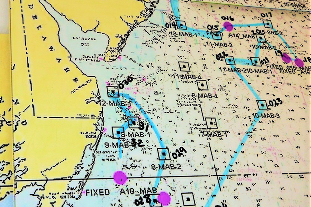 a nautical chart with survey stations marked on it