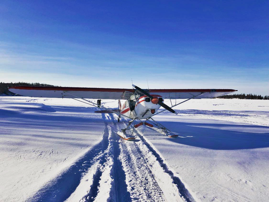 The Super Cub on skis enabled Brown to land on snow-covered tidal flats to recover the stranded mooring.