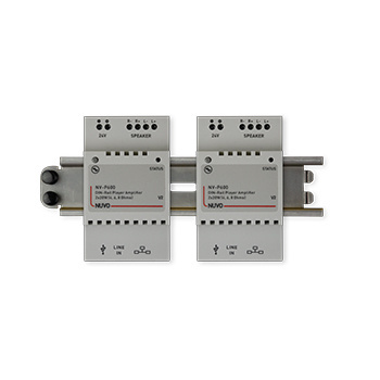 Two P600 DIN rail players mounted on an AC1043 rail