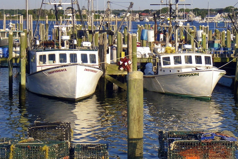 Fishing vessels docked in Point Judith, Rhode Island.