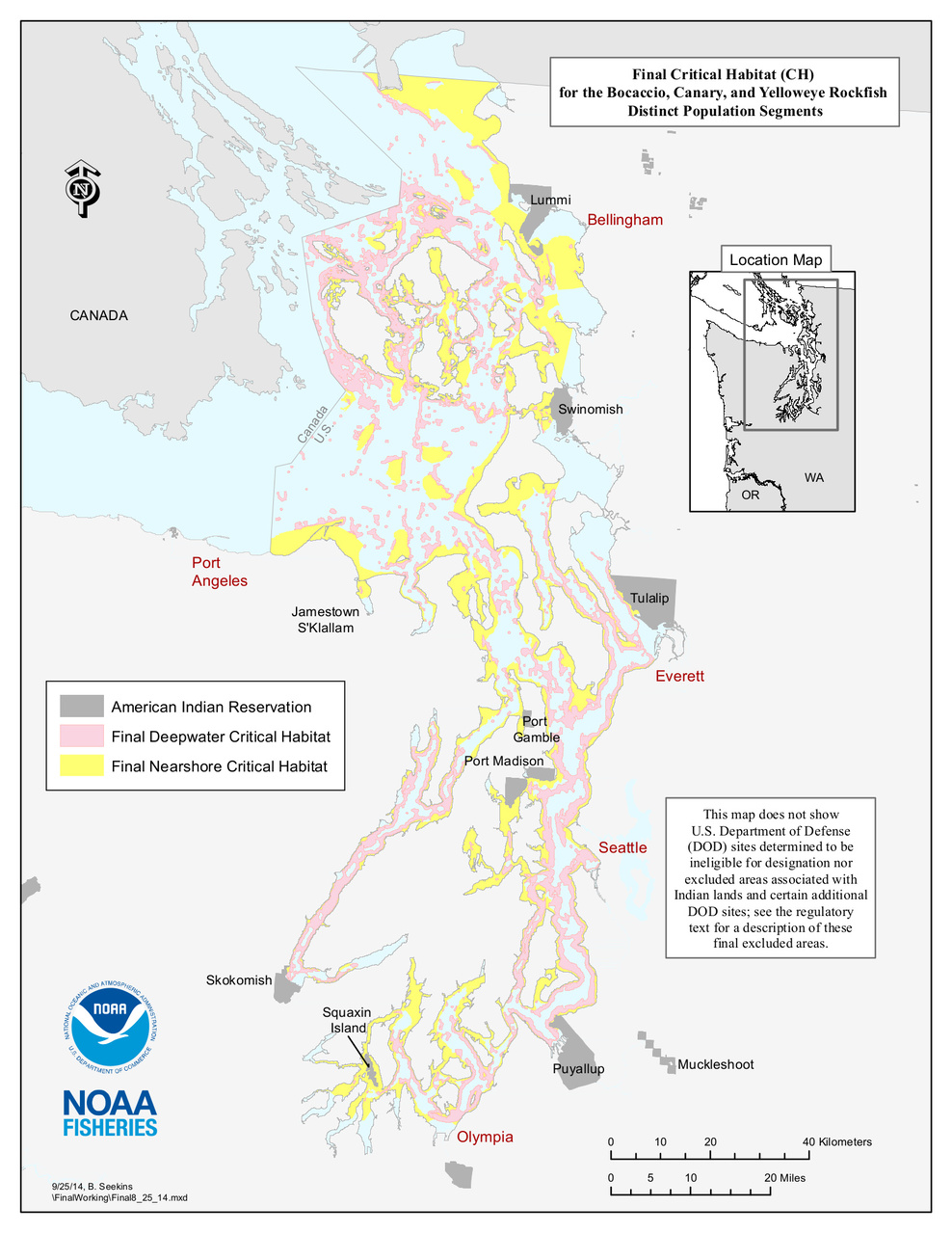 Map of the Critical Habitat area for Bocaccio, Canary, and Yelloweye Rockfish.