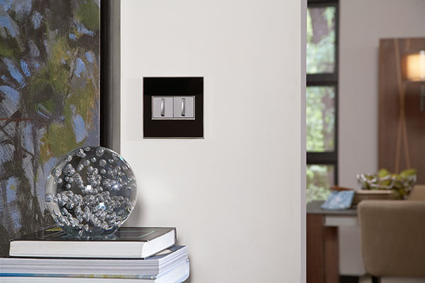 adorne wall plate and whisper switches installed in dining room