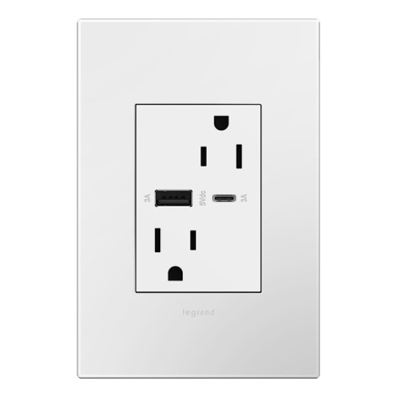 adorne collection usb type-ac outlet with screwless wall plate