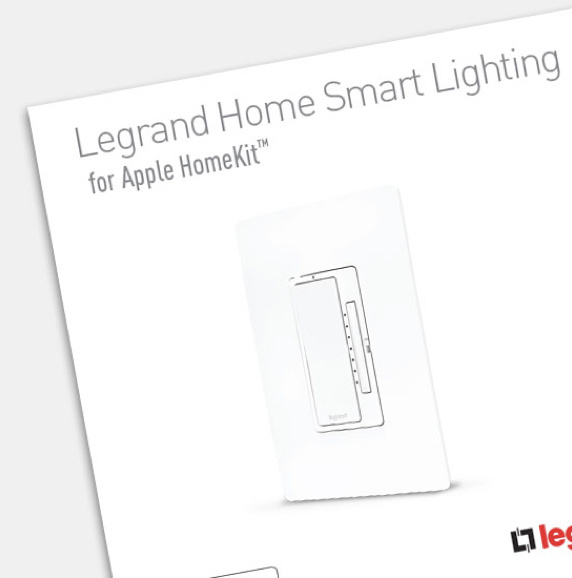 Cover of Legrand Home Smart Lighting for Apple HomeKit brochure on white background