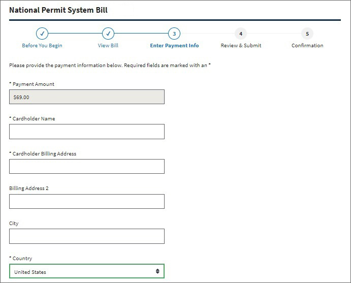 National Permit System Bill - enter payment information window.