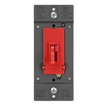 Toggle Slide Dimmer CFL/LED SSL7A, Single Pole / 3-Way 250W, Red
