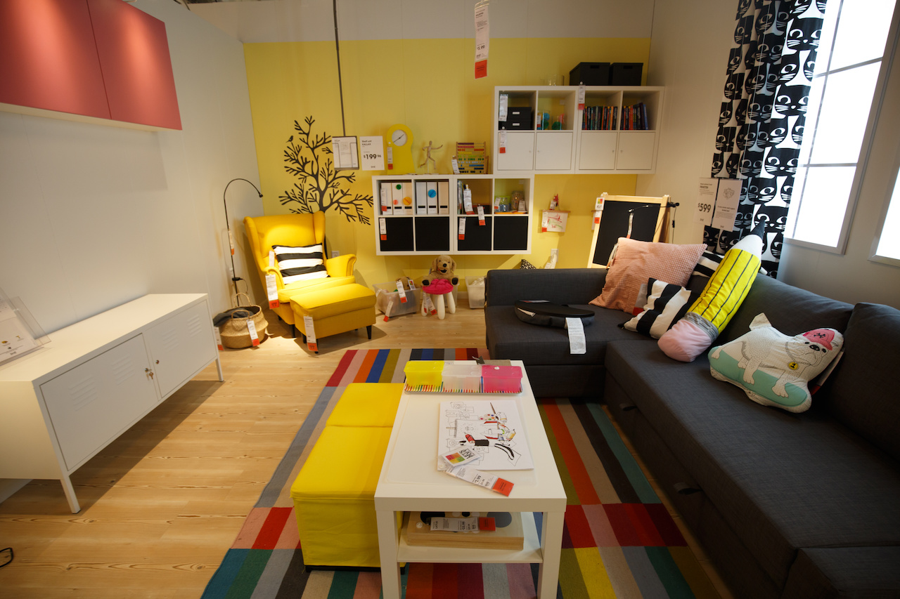 A sunny children's play room is one of 50-something designed rooms throughout the store.