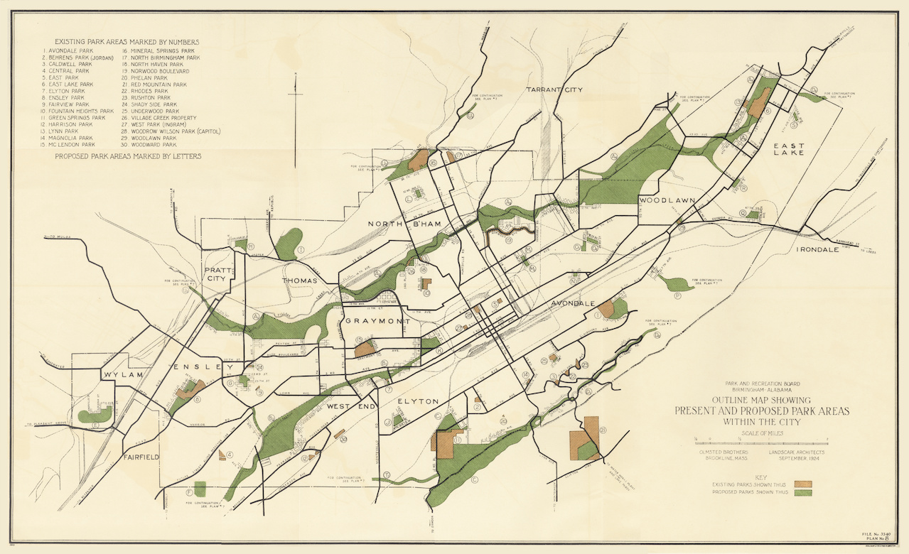 The proposed park areas for downtown Birmingham as designed by the Olmsteds in 1924