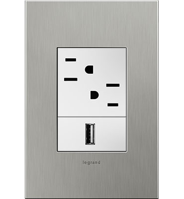 adorne Brushed Stainless Steel 1-Gang+ Wall Plate