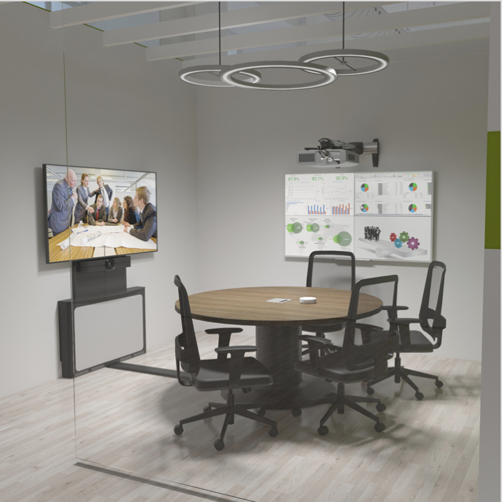 Rendering of an office space with audio video products